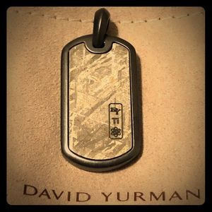 David Yurman Meteorite Titanium Dog Tag Pendant